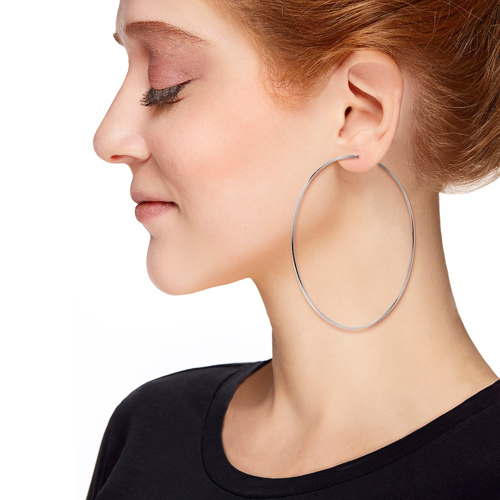 Celebrity Inspired Continuous Hoop Earrings 3 25 Inch