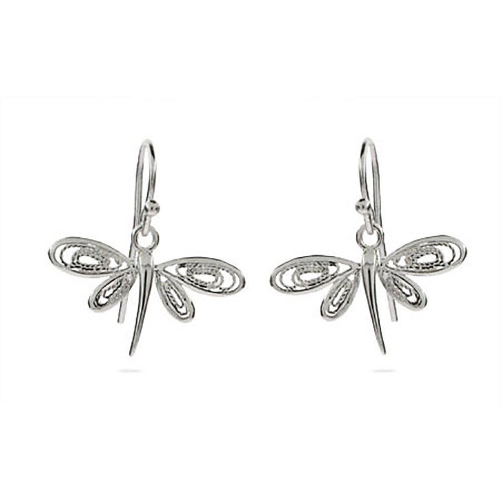 Vintage Style Sterling Silver Dragonfly Earrings