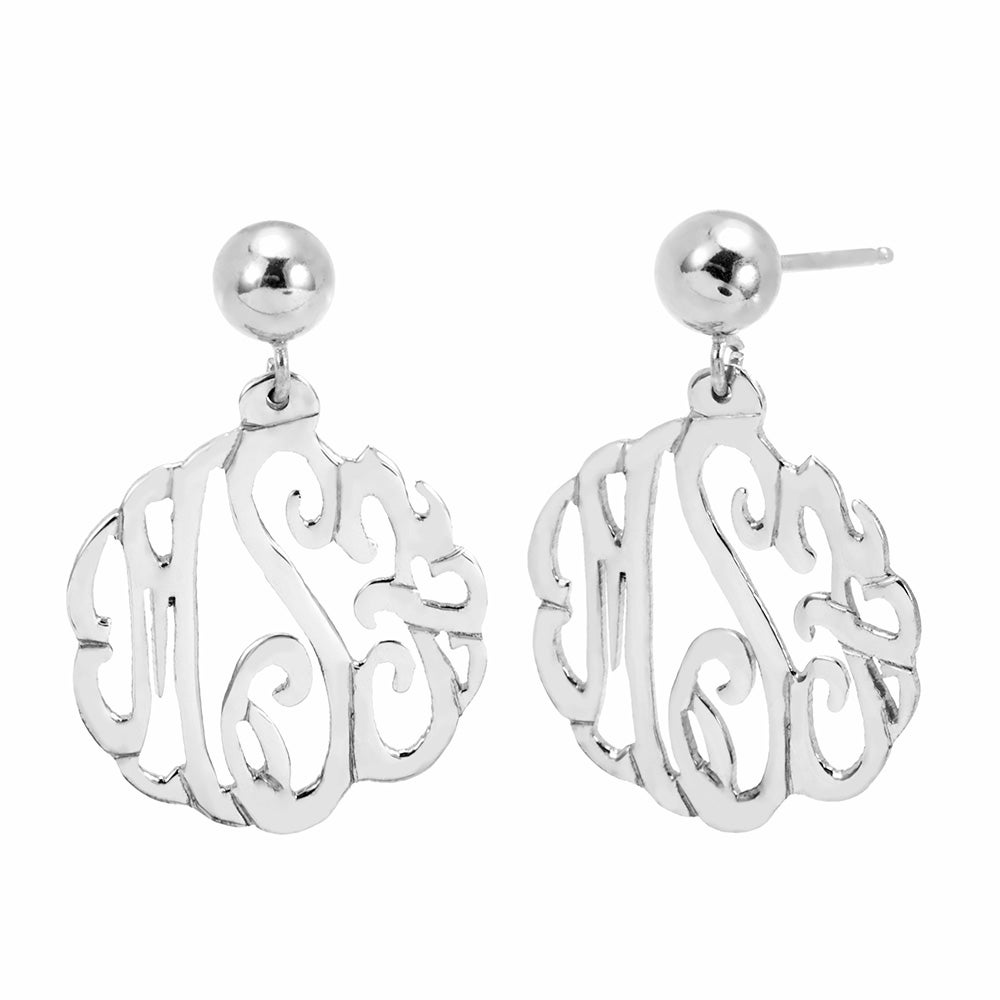 Sterling Silver Custom Monogram Earrings