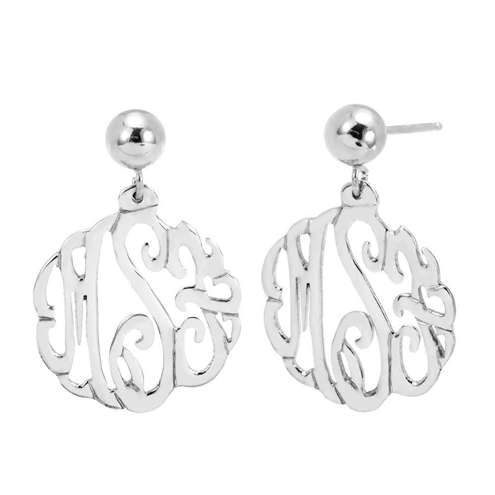 f9e0479ad Sterling Silver Custom Monogram Earrings. Double Tap To Zoom