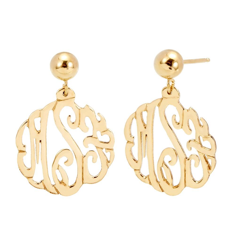 Gold Custom Monogram Earrings