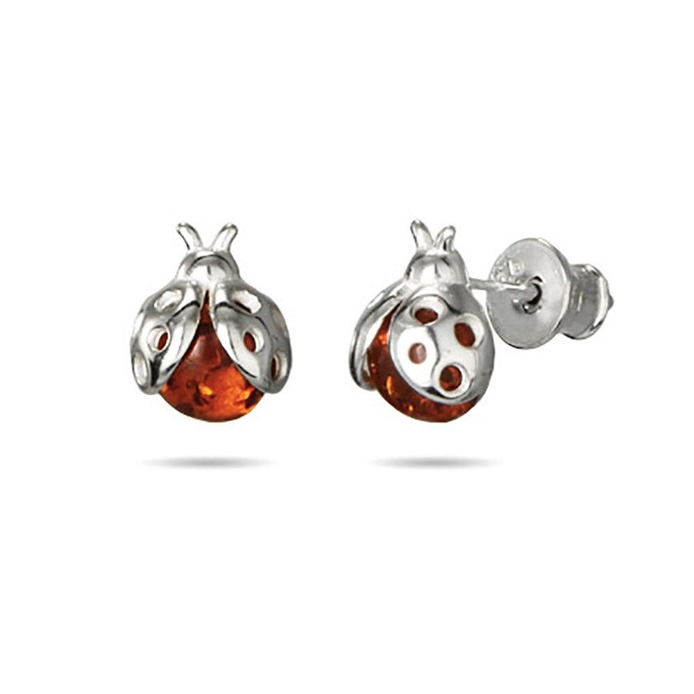 Genuine Baltic Honey Amber Sterling Silver Ladybug Earrings