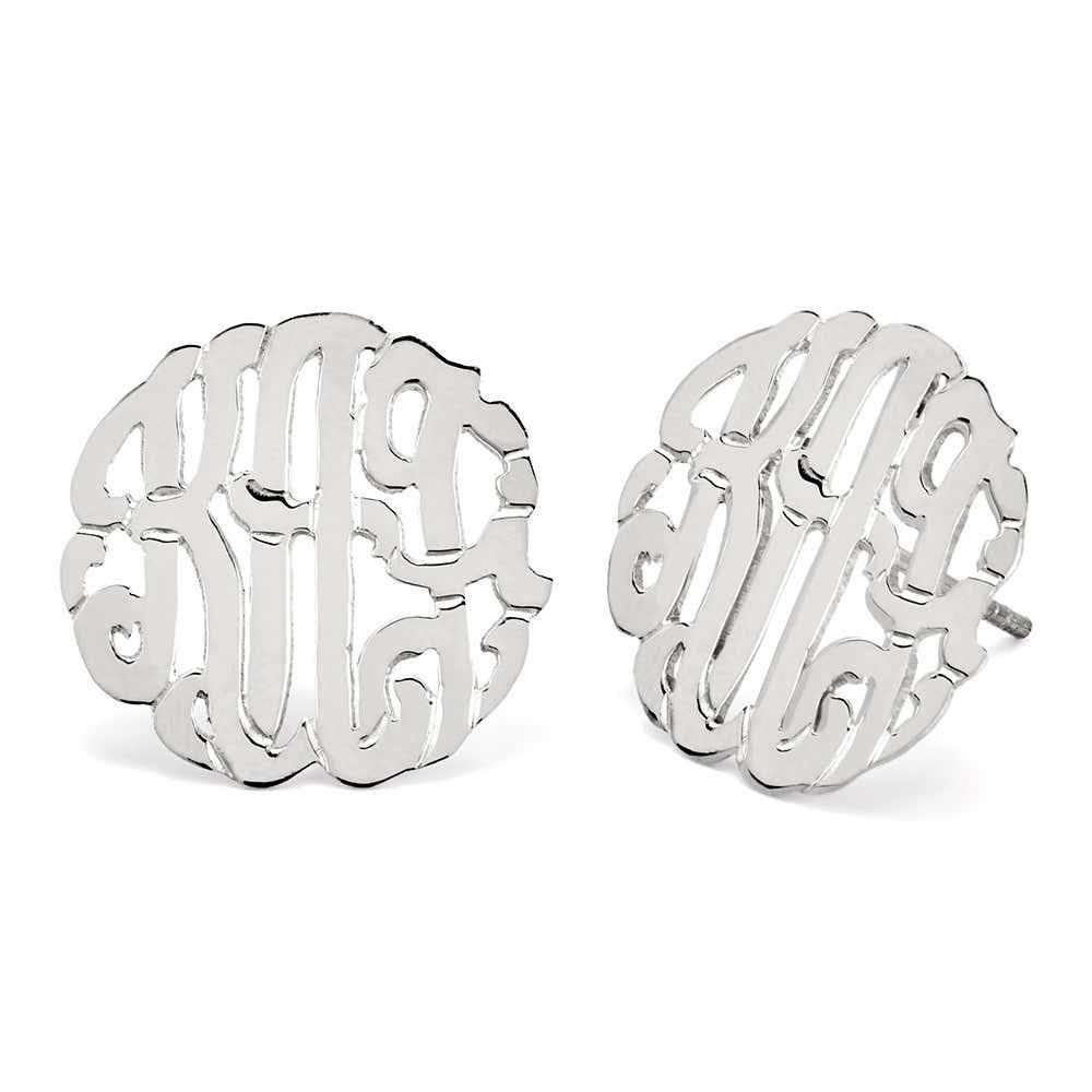 1c2a1bcb5 Sterling Silver Monogram Stud Earrings