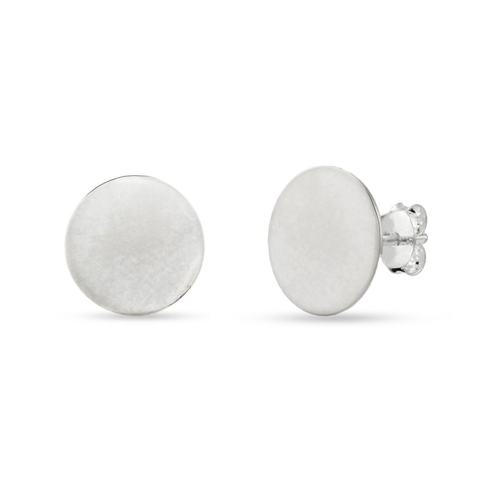 Designer Style Engravable Sterling Silver Round Tag Stud Earrings