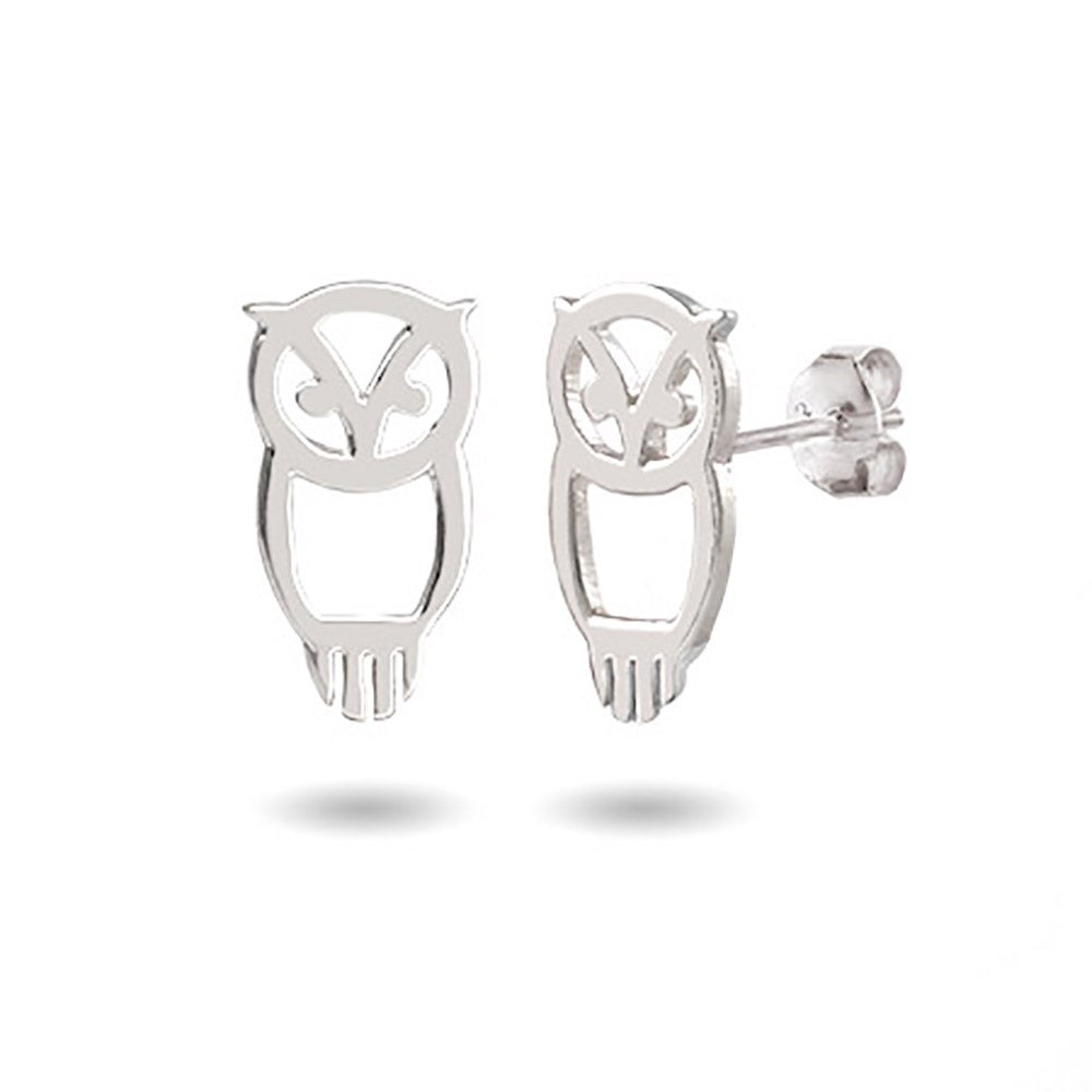 Chi Omega Sterling Silver Owl Stud Earrings