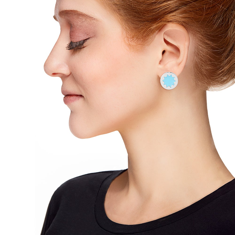 House Of Harlow Blue Sunburst Stud Earrings Eves Addiction Double Tap To Zoom