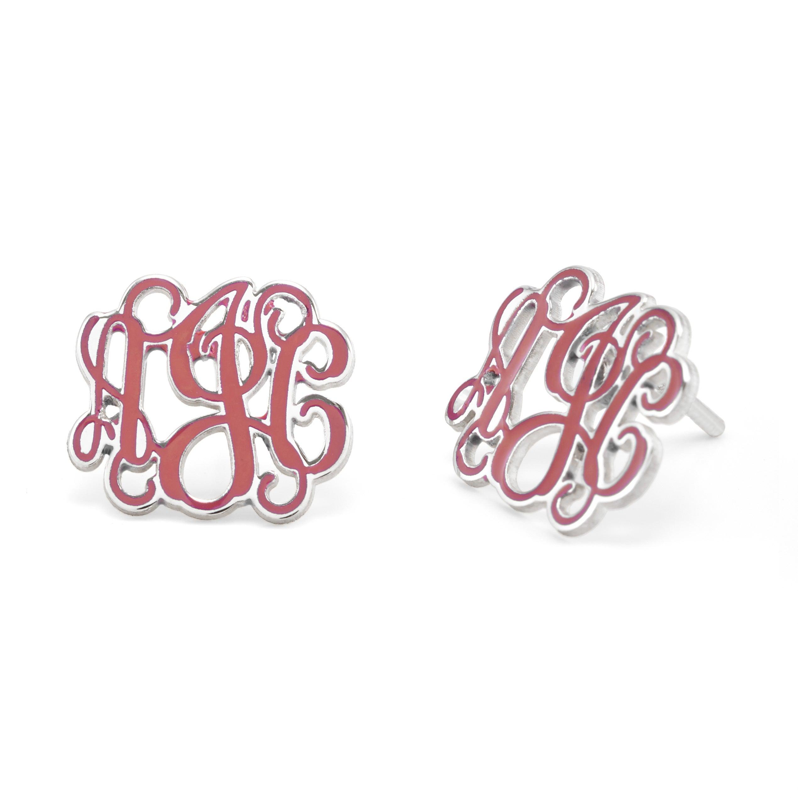 Handmade Script Monogram Stud Earrings Custom Sterling Silver Studs Eve S Addiction