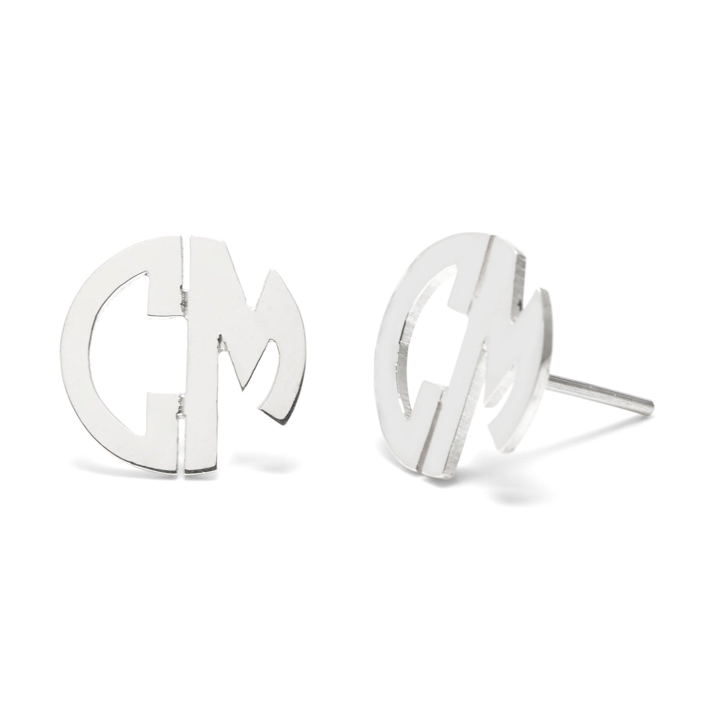 Two Initial Block Monogram Silver Earrings