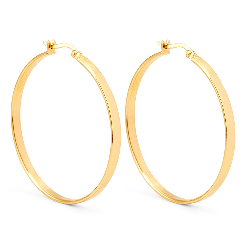 1 5 Flat Gold Hoop Earrings