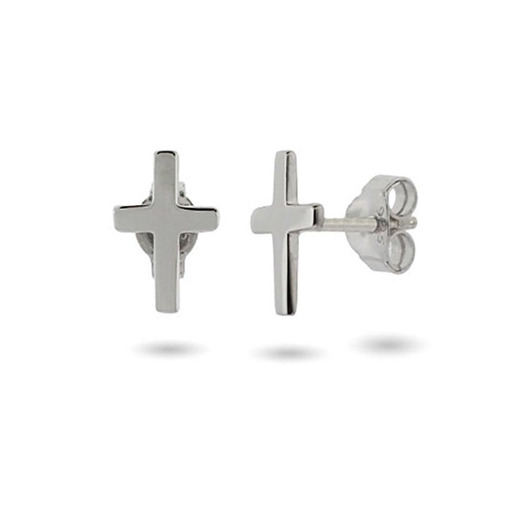 Pee Sterling Silver Cross Stud Earrings