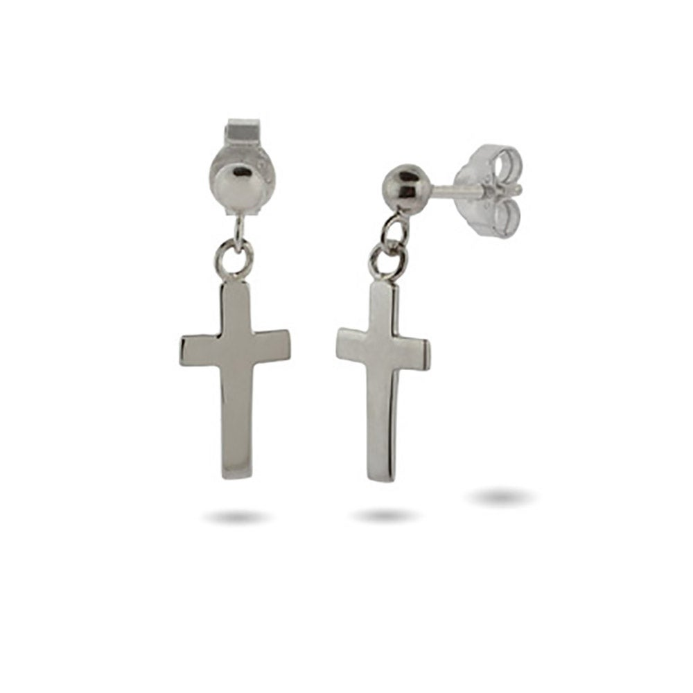 Simple Plain Silver Cross Dangle Earrings