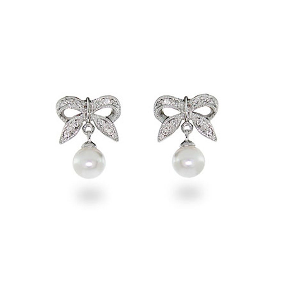 Sterling Silver Bow Earrings With Pearl Drop
