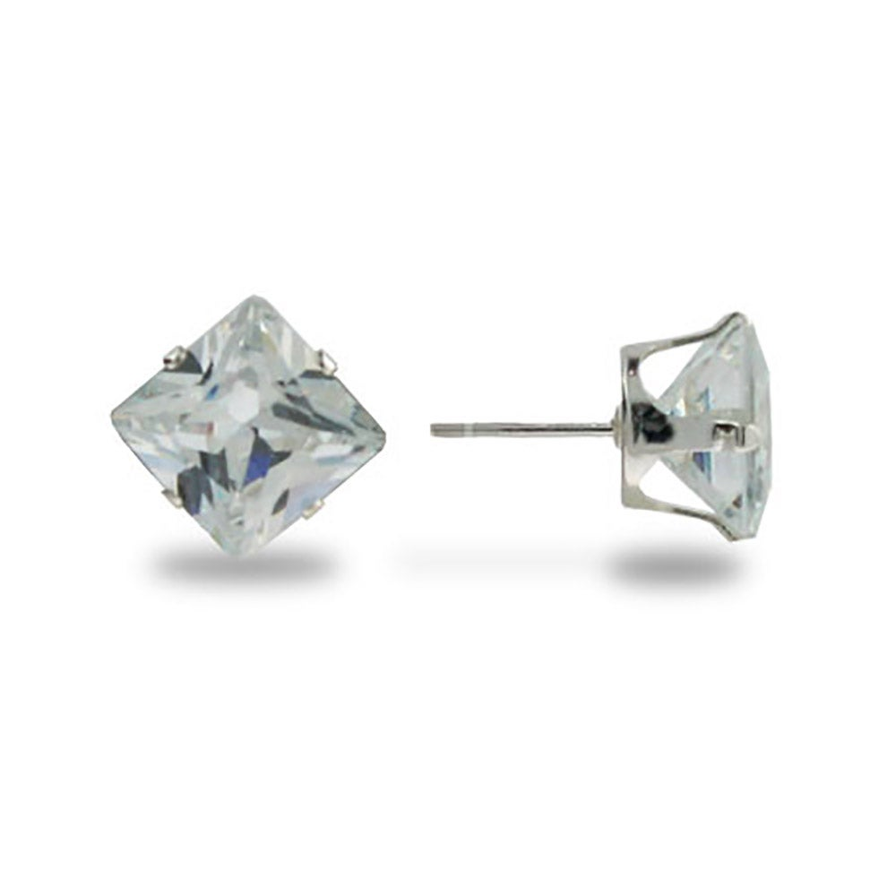 stud diamond square cut sterling pave silver round earrings