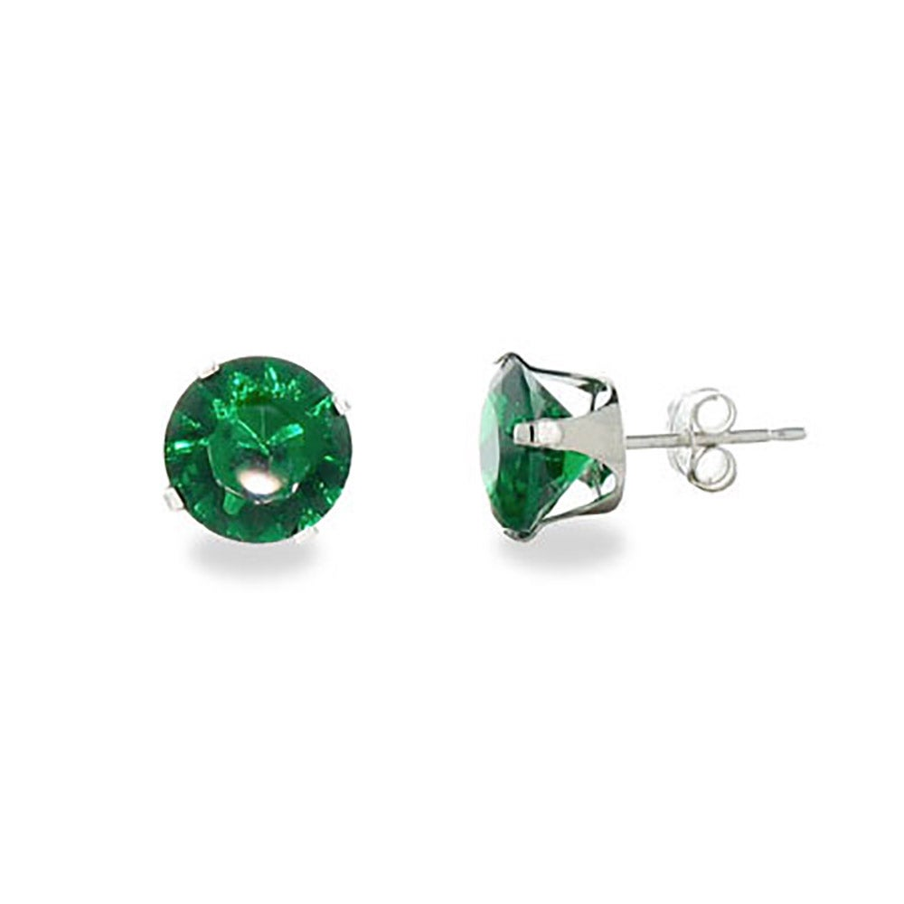 earrings customizable products prong cubic cz round zirconia stud single earring
