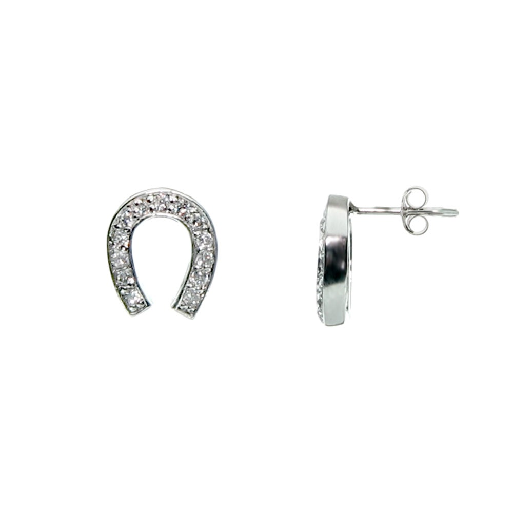 Designer Style Cubic Zirconia Lucky Horseshoe Earrings