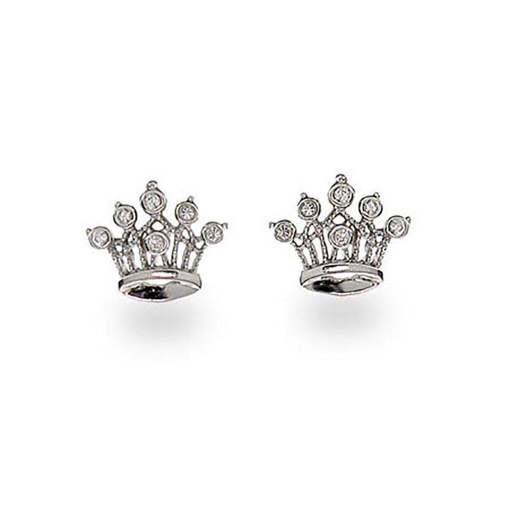 Sterling Silver Crown Jewels Cz Earrings