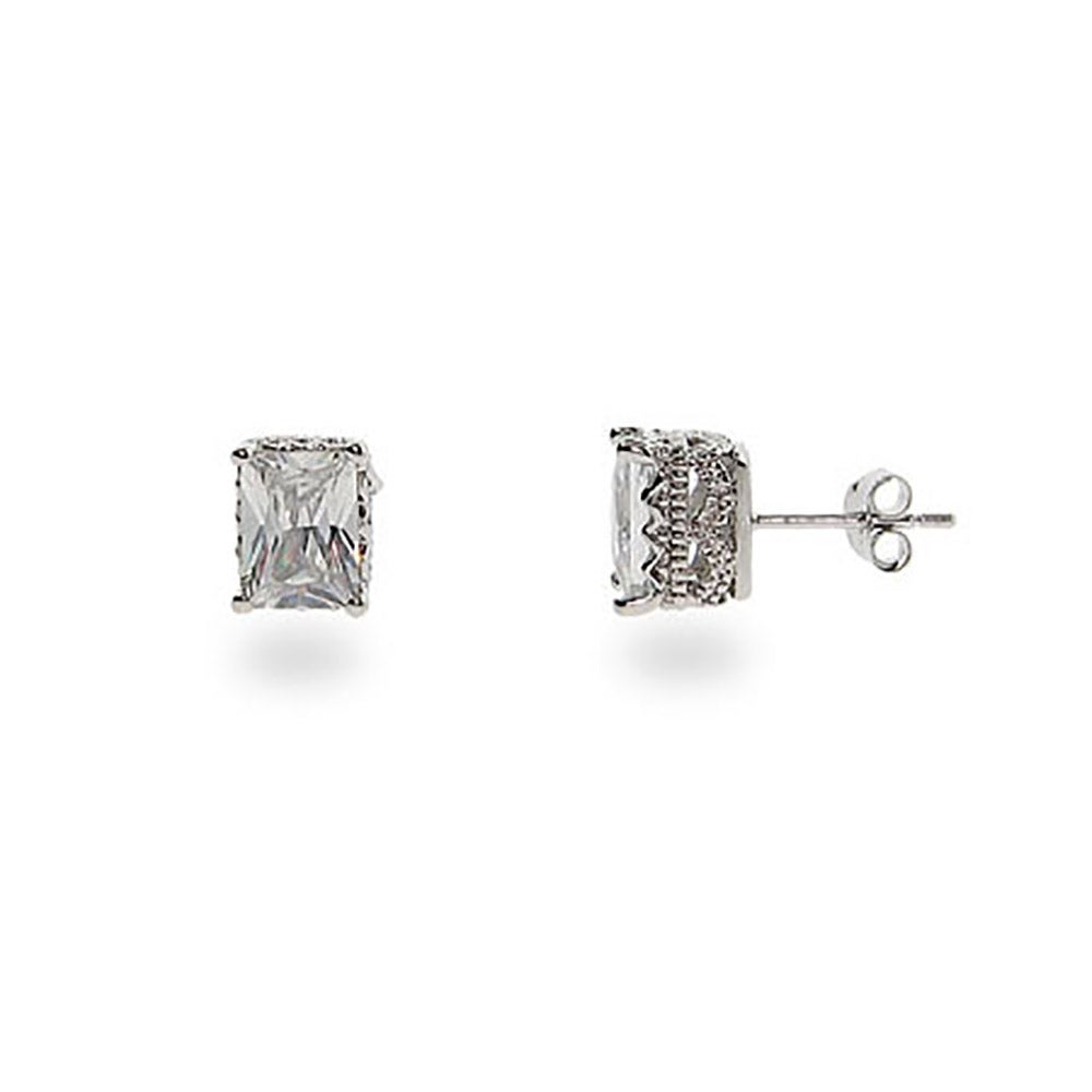 Crown Set Rectangle Sterling Silver Cz Studs