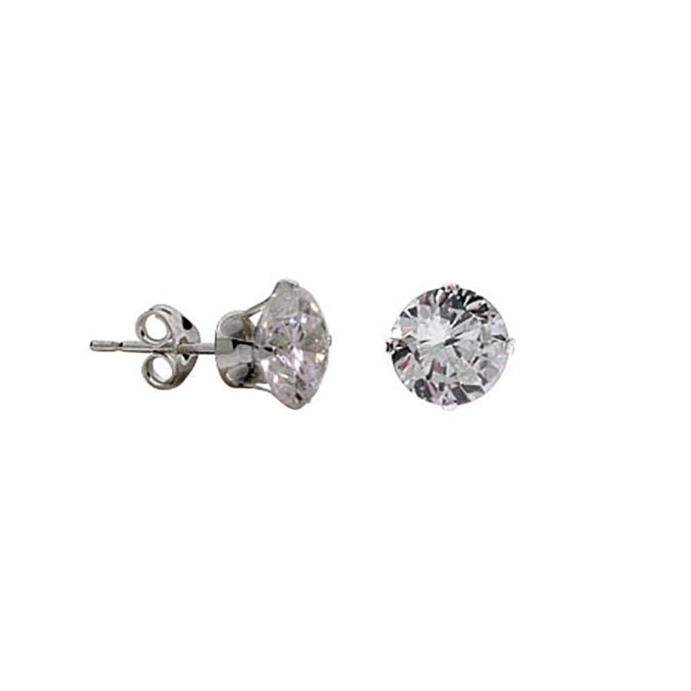 29ea40de6 1.25 Carat Sterling Silver Diamond CZ 7mm Stud Earrings