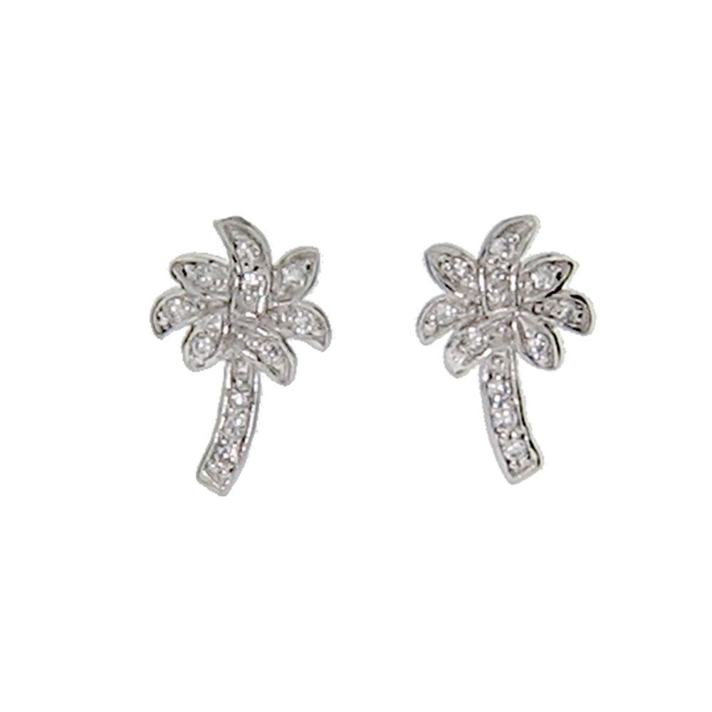 Designer Style Cubic Zirconia Palm Tree Stud Earrings