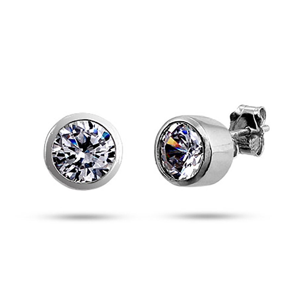eve bezel silver with s set cz edging sterling milgrain stud studs