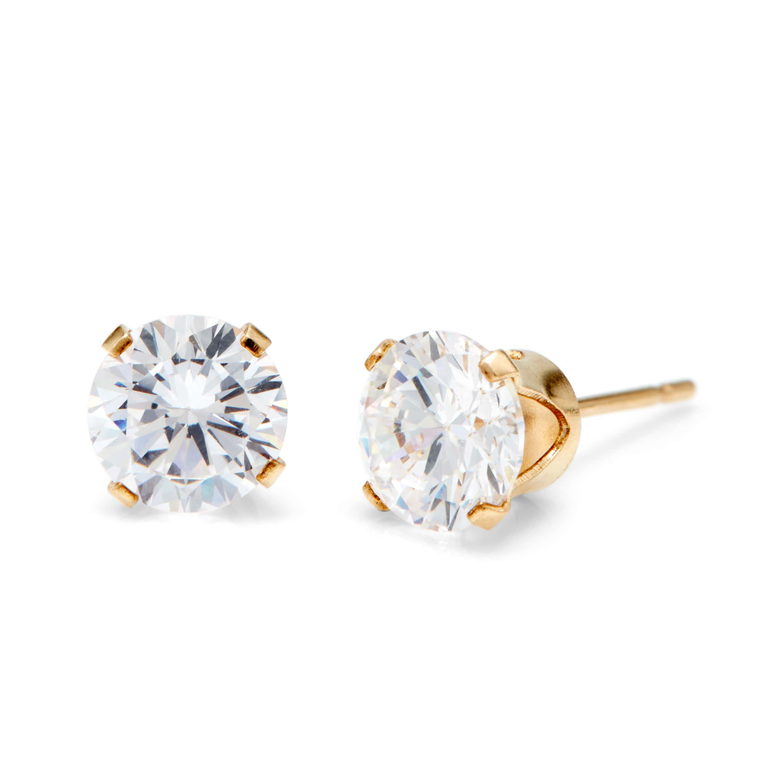 Men S 14k Gold Filled Round Diamond Cz 6mm Stud Earrings