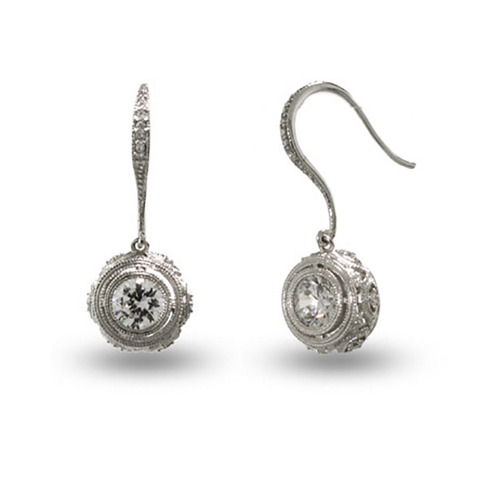 Victorian Style Crown Set Sterling Silver Bezel Cz Drop Earrings