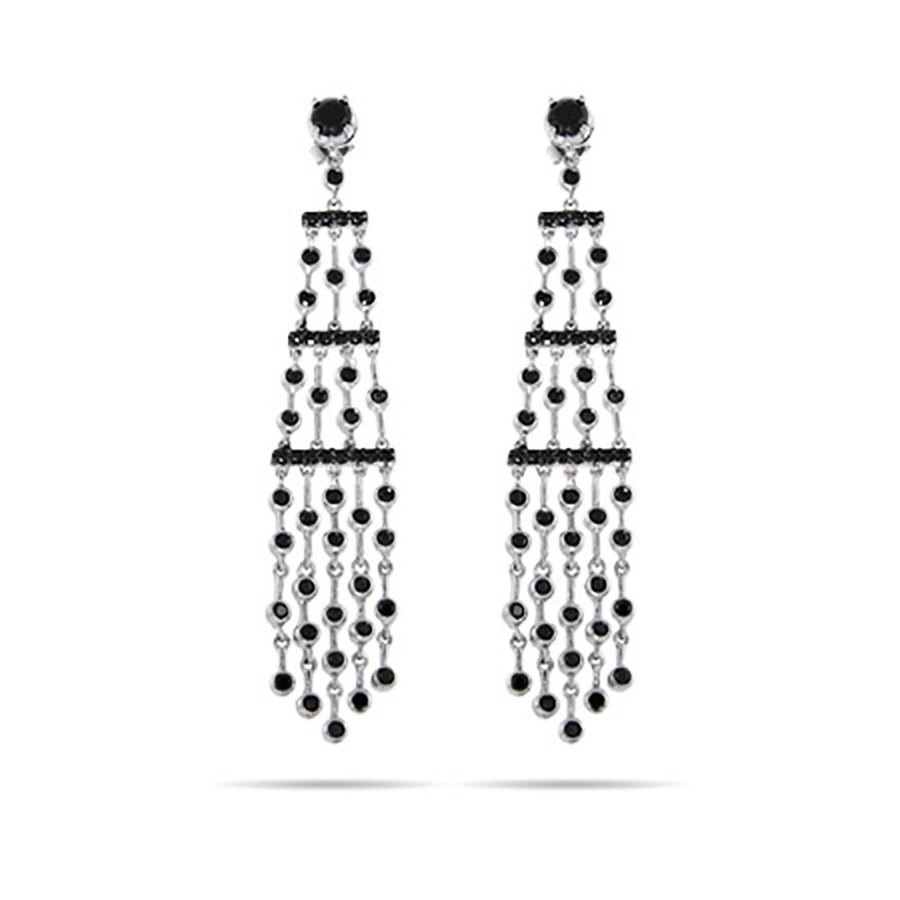 Five strand silver and black cz chandelier earrings eves addiction five strand silver and black cz chandelier earrings aloadofball Gallery