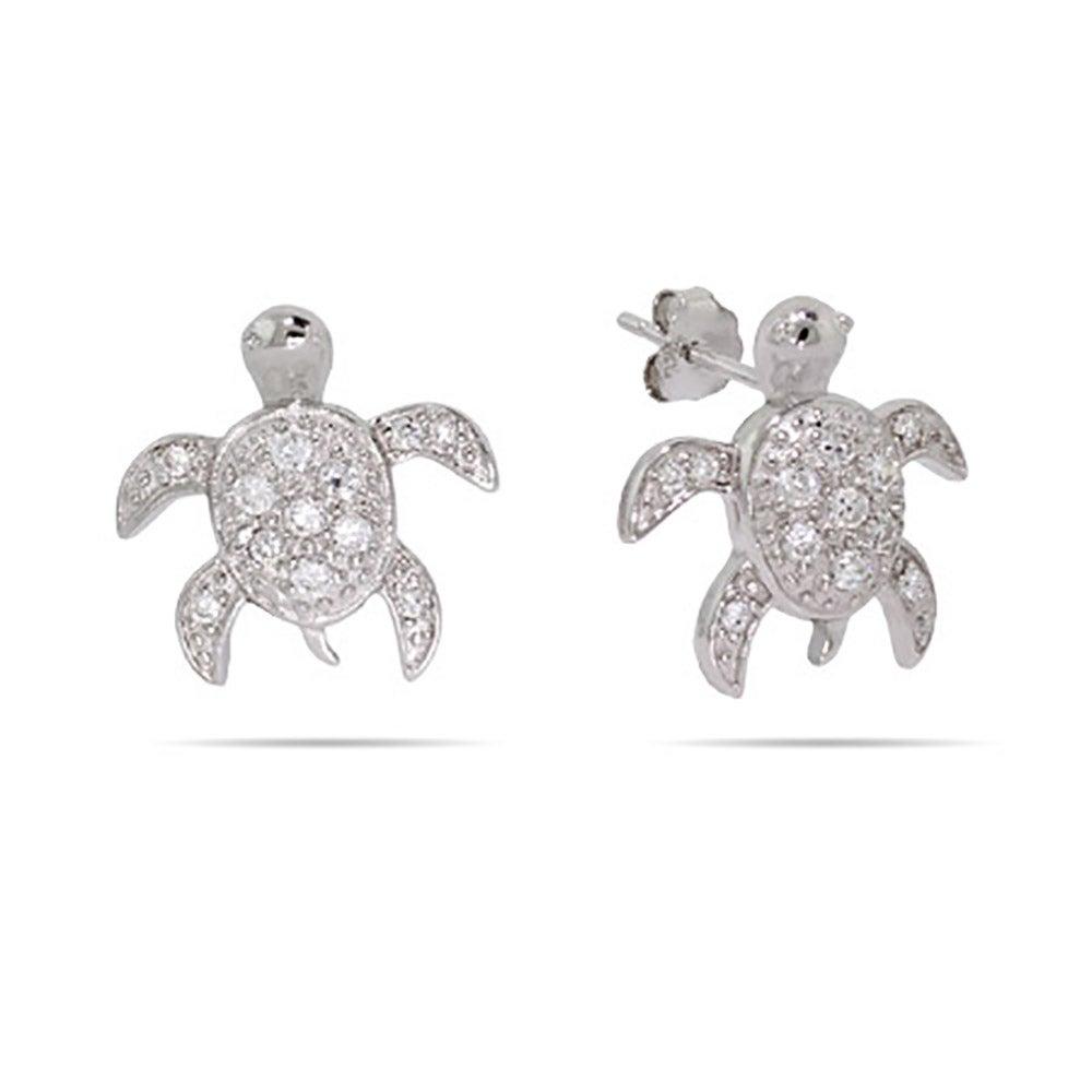Sterling Silver Cz Sea Turtle Earrings