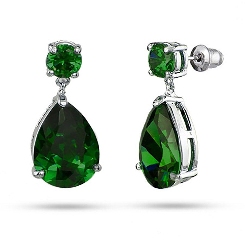 Celebrity Inspired Pear Drop Emerald Cz Earrings