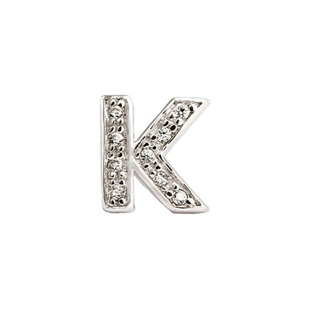 Sterling Silver Cz Initial Stud Earrings K