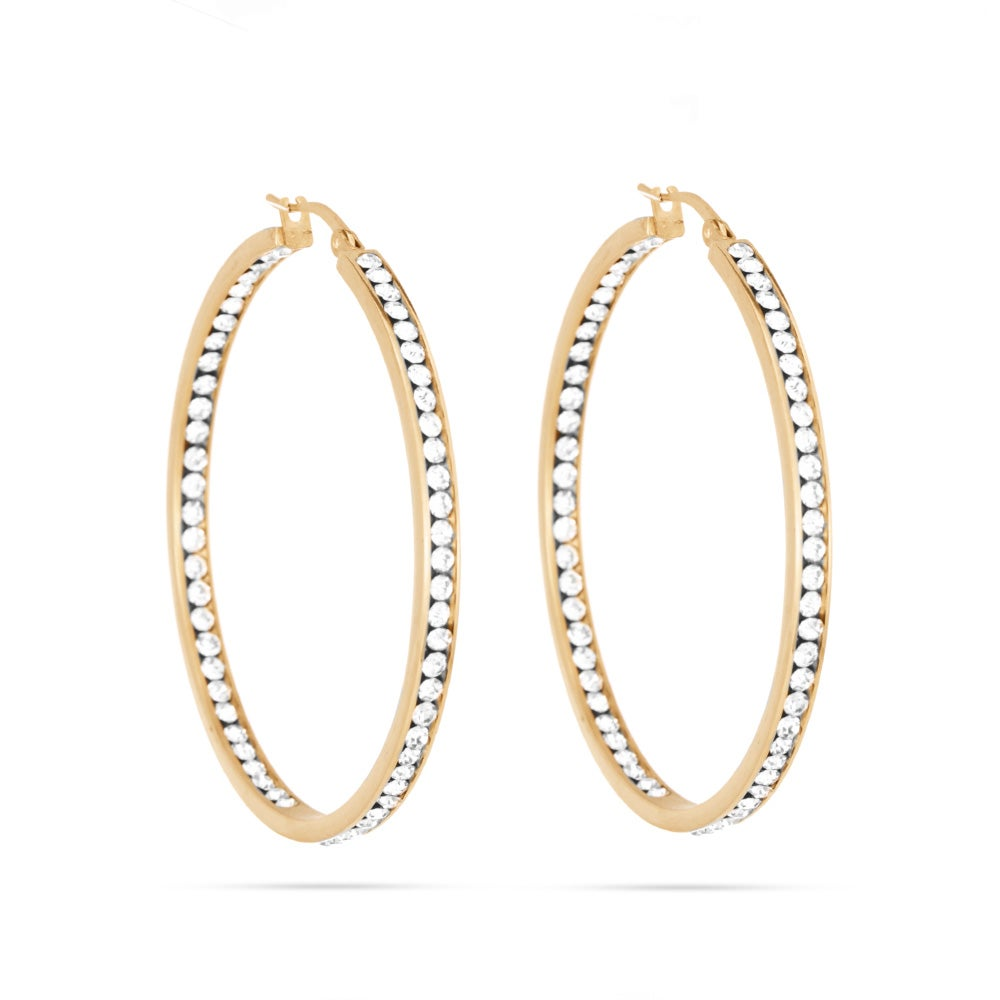 2 Inside Out Gold Cz Hoop Earrings