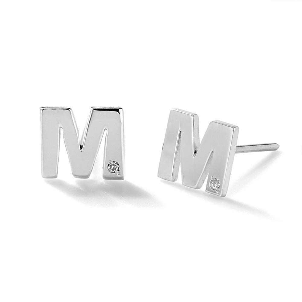 Diamond Initial Stud Earrings In Silver