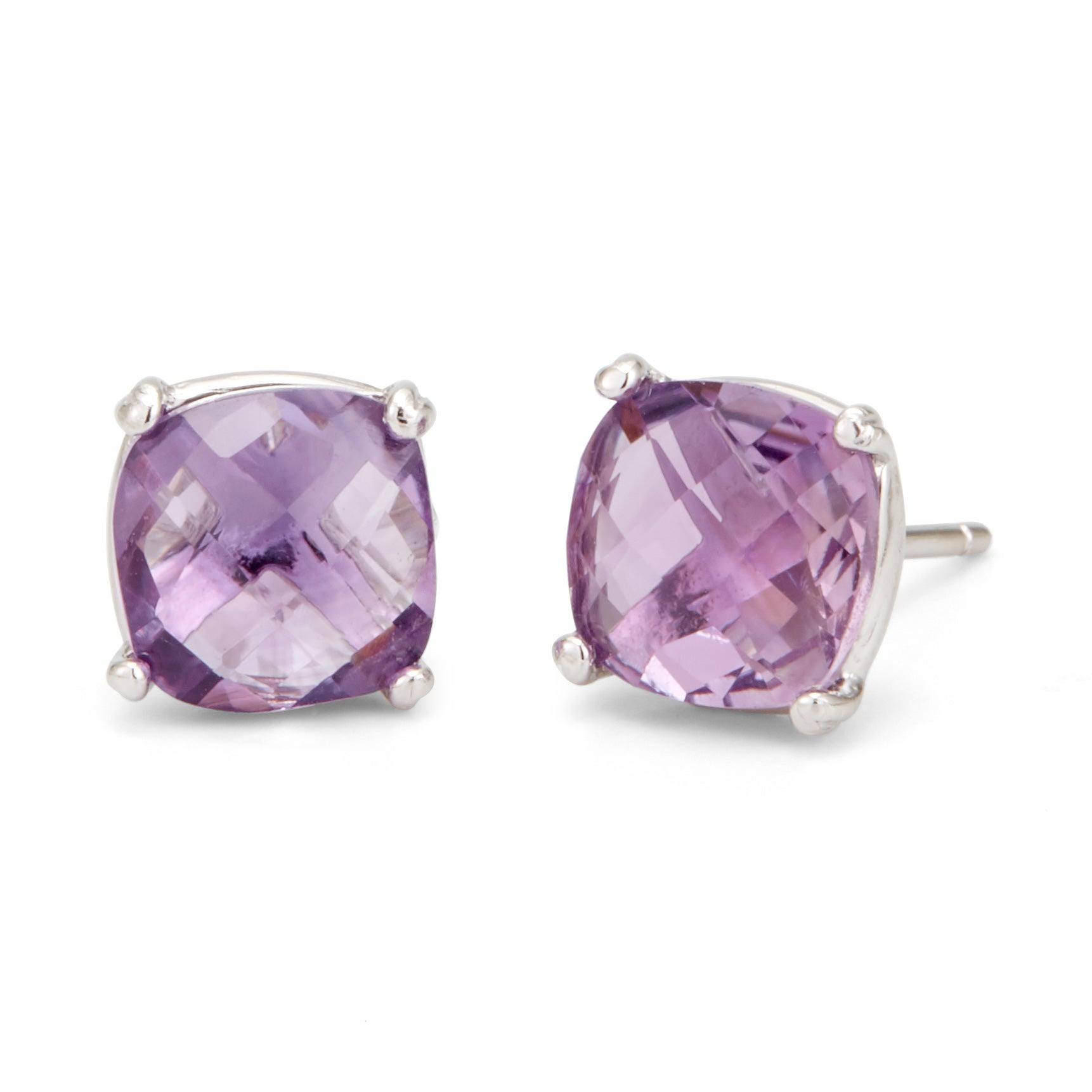 February Amethyst Cushion Cut Gemstone Silver Earrings