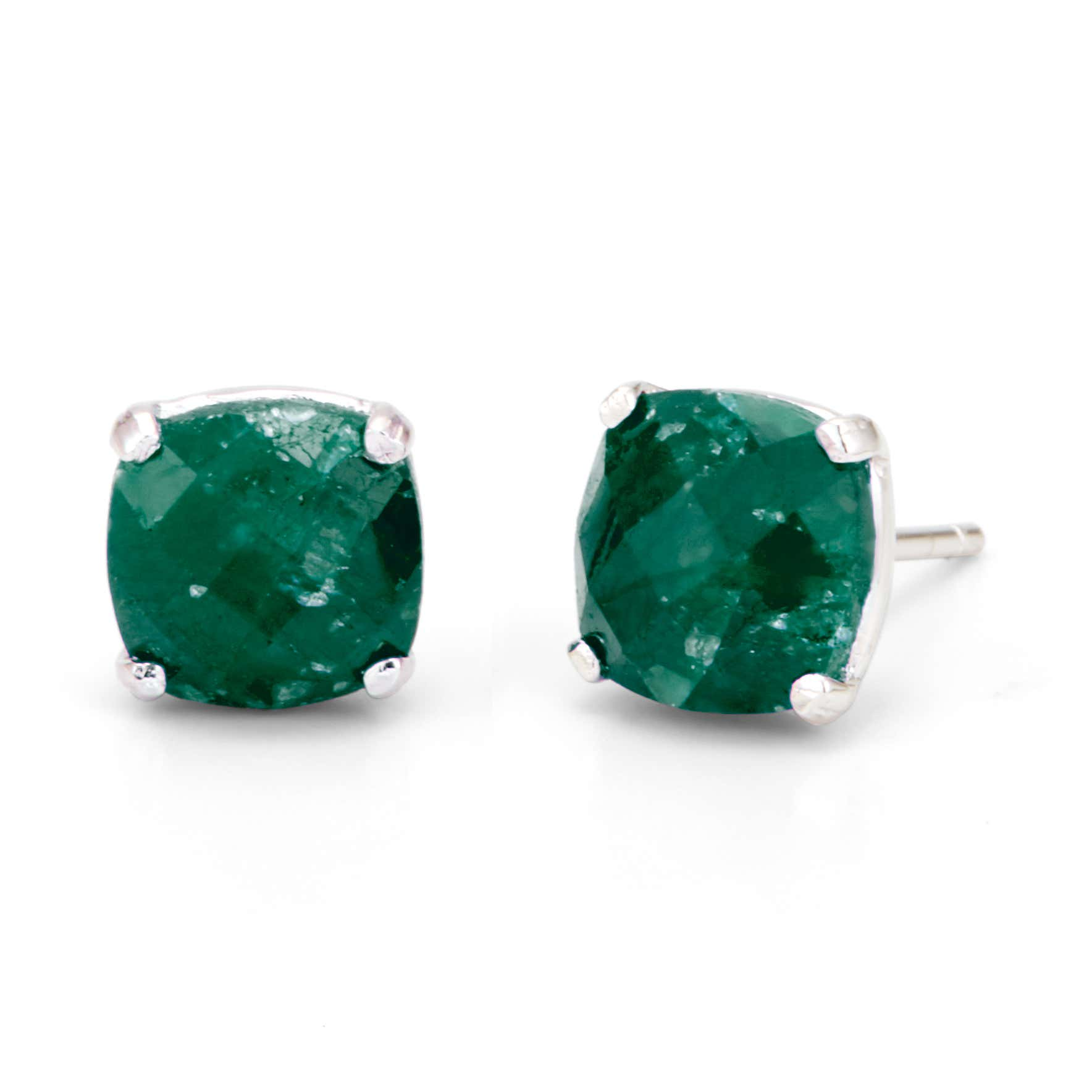 May Emerald Cushion Cut Gemstone Silver Earrings