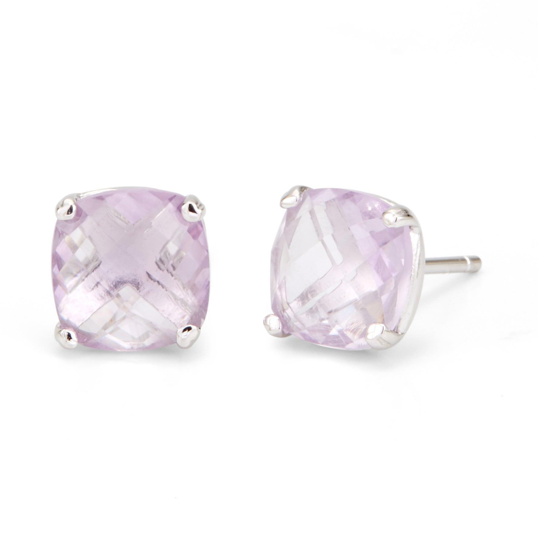 June Pink Amethyst Cushion Cut Gemstone Silver Earrings