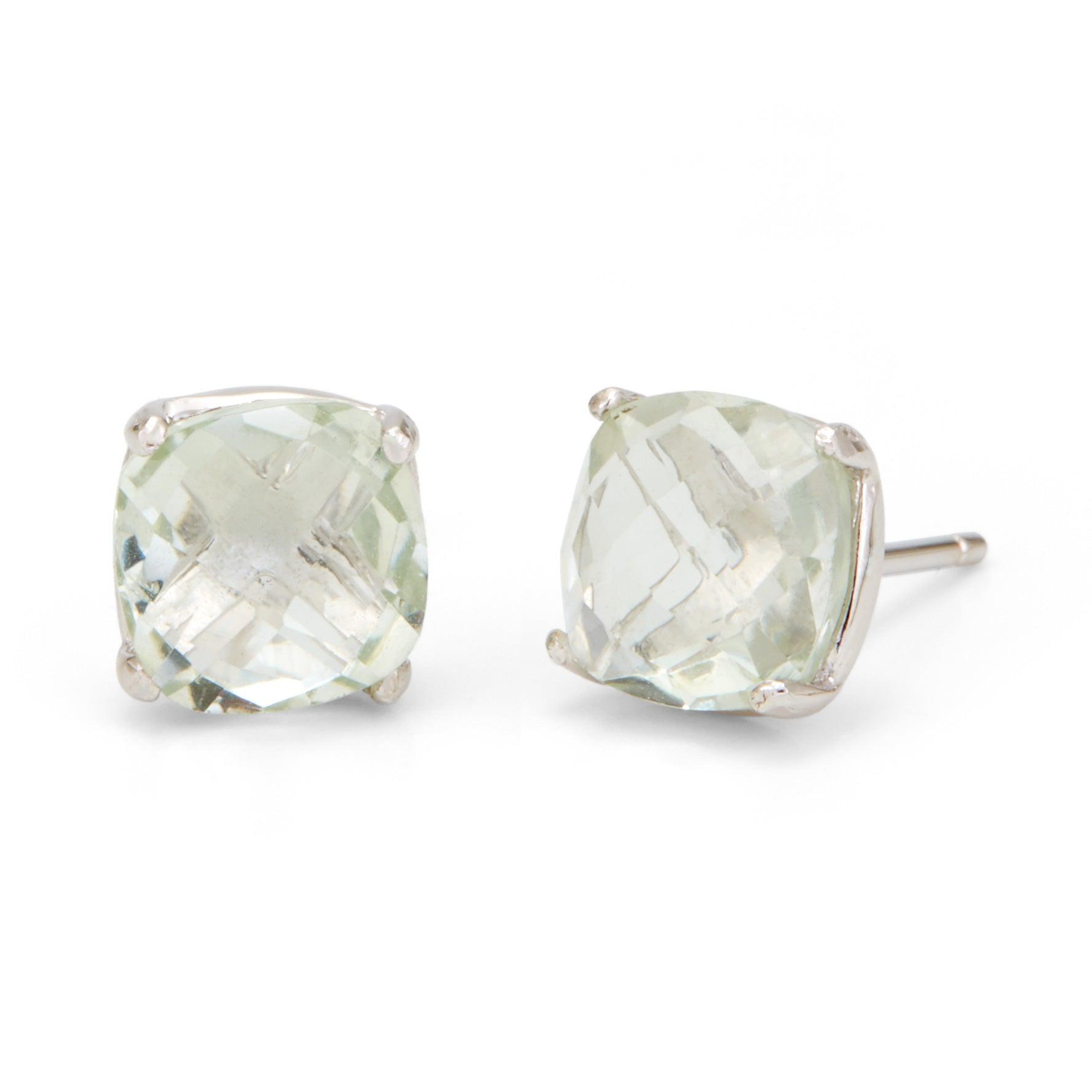 Green Amethyst Cushion Cut Gemstone Silver Earrings