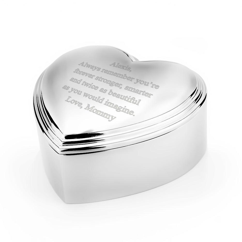 Engravable Heart Shaped Keepsake Jewelry Box