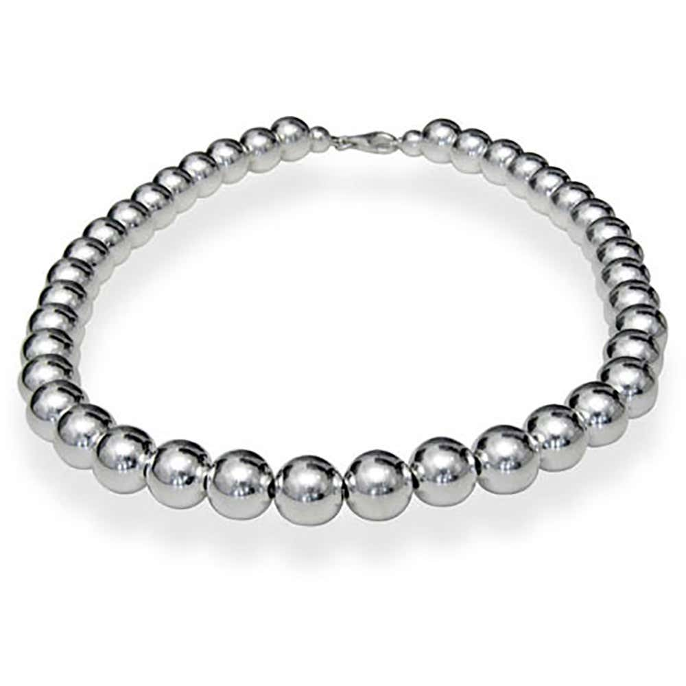 b8861264f Double Tap To Zoom · Designer Style 10mm Sterling Silver Bead Necklace