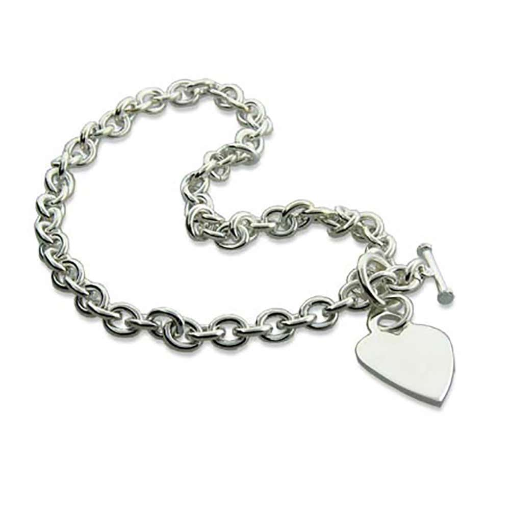 c76888f38 Designer Style Heavy Gauge Silver Heart Tag Necklace