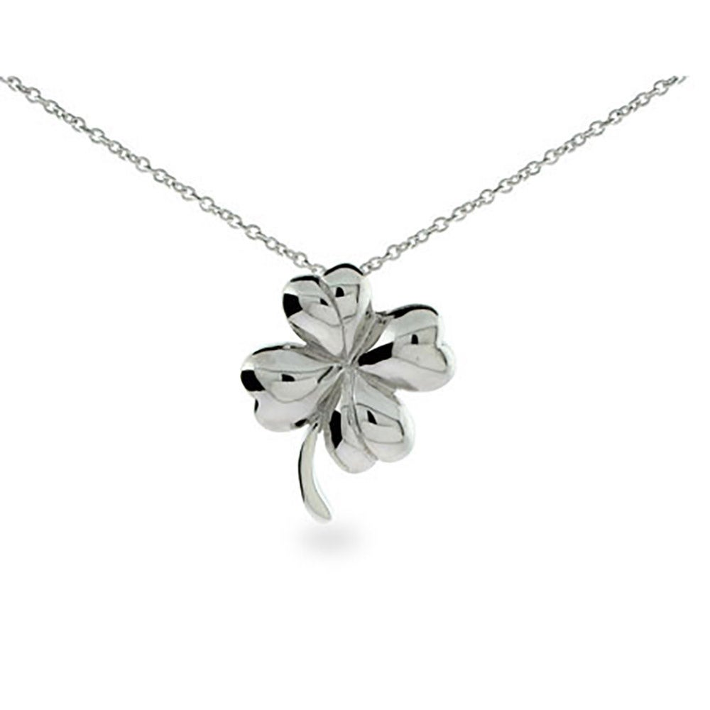 Sterling silver four leaf clover pendant necklace mozeypictures Image collections