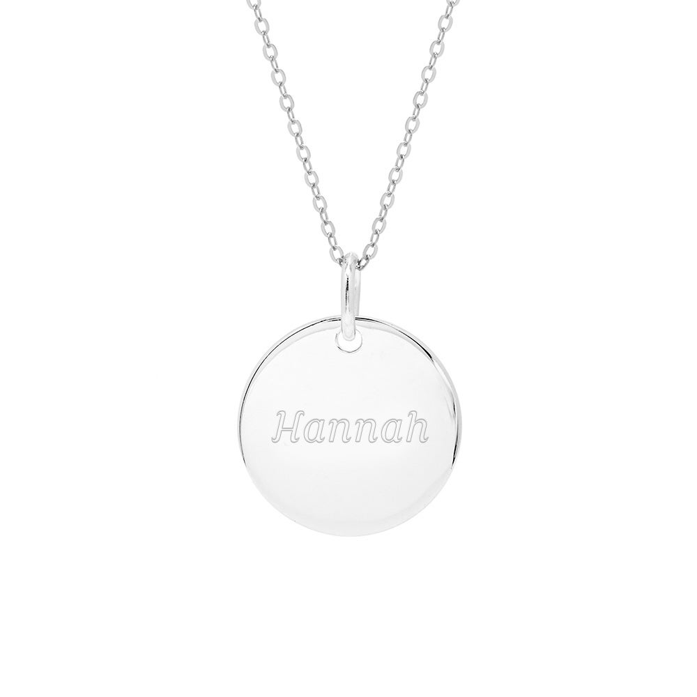 Round tag sterling silver necklace engravable sterling silver round tag pendant mozeypictures Choice Image
