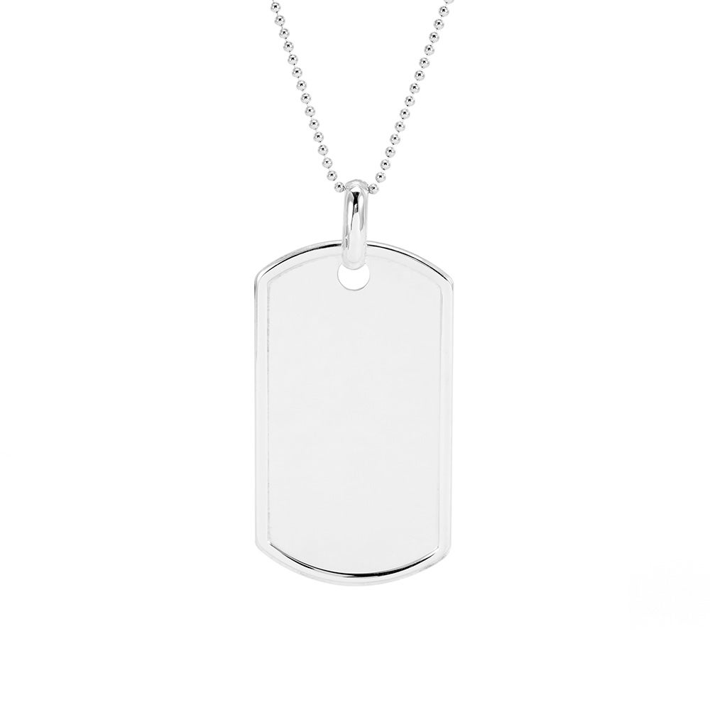 Sterling silver dog tag necklace eves addiction large sterling silver dog tag necklace aloadofball Images