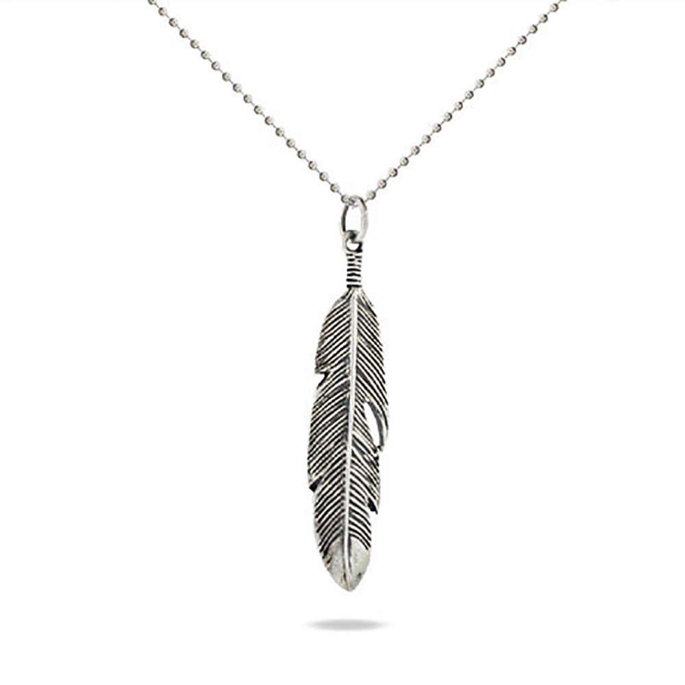 2bf706358f5433 Sterling Silver Feather Charm Necklace