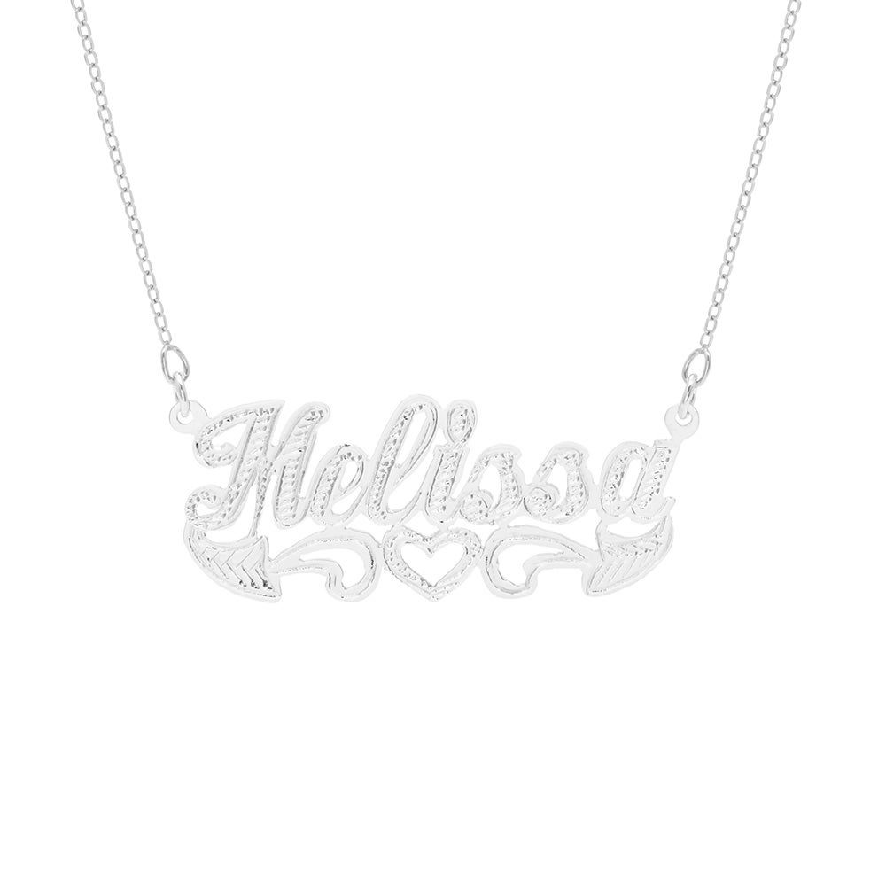 Sterling Silver Script Carved Name Plate Necklace Name Plate Earrings