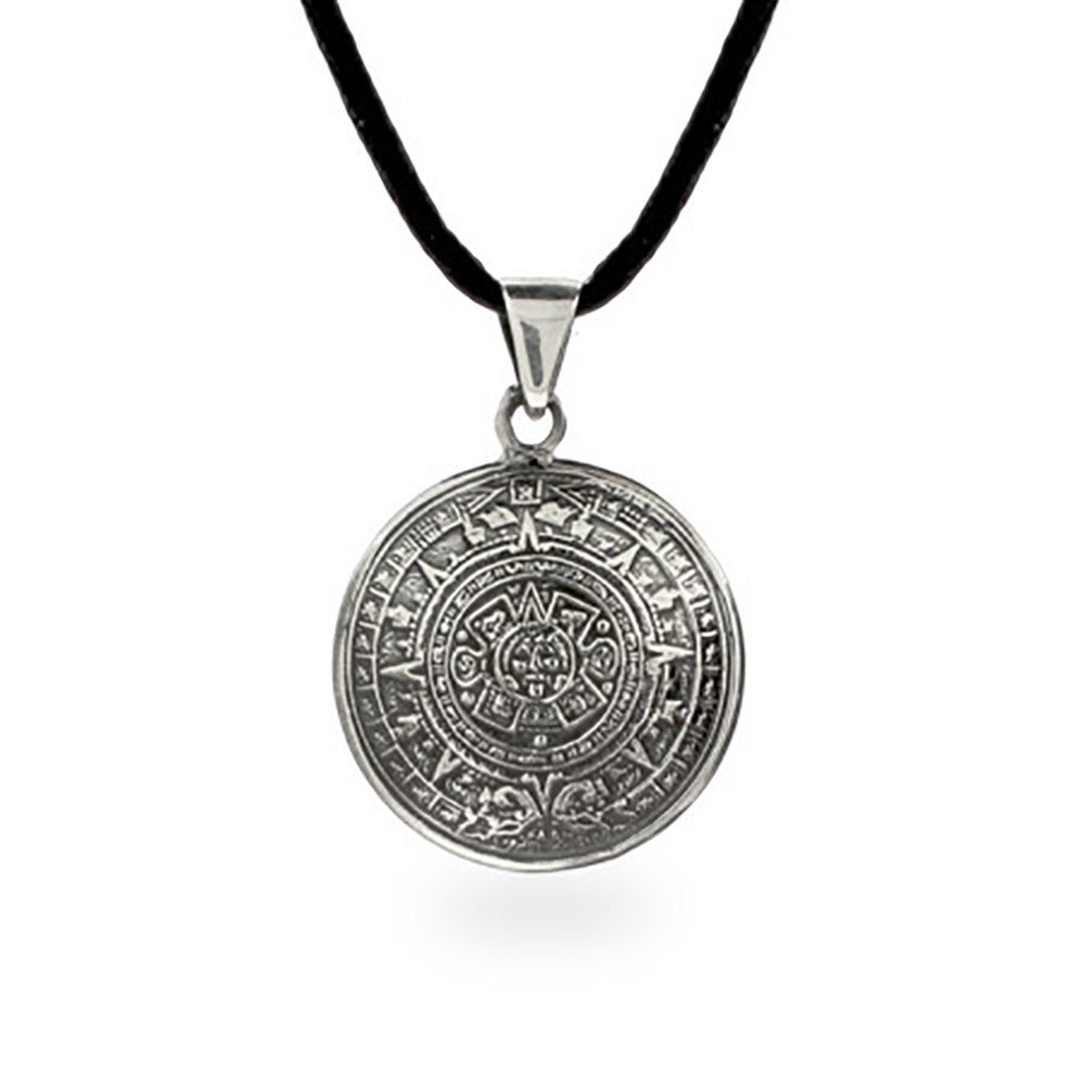 Silver aztec calendar pendant sterling silver aztec calendar pendant mozeypictures Images