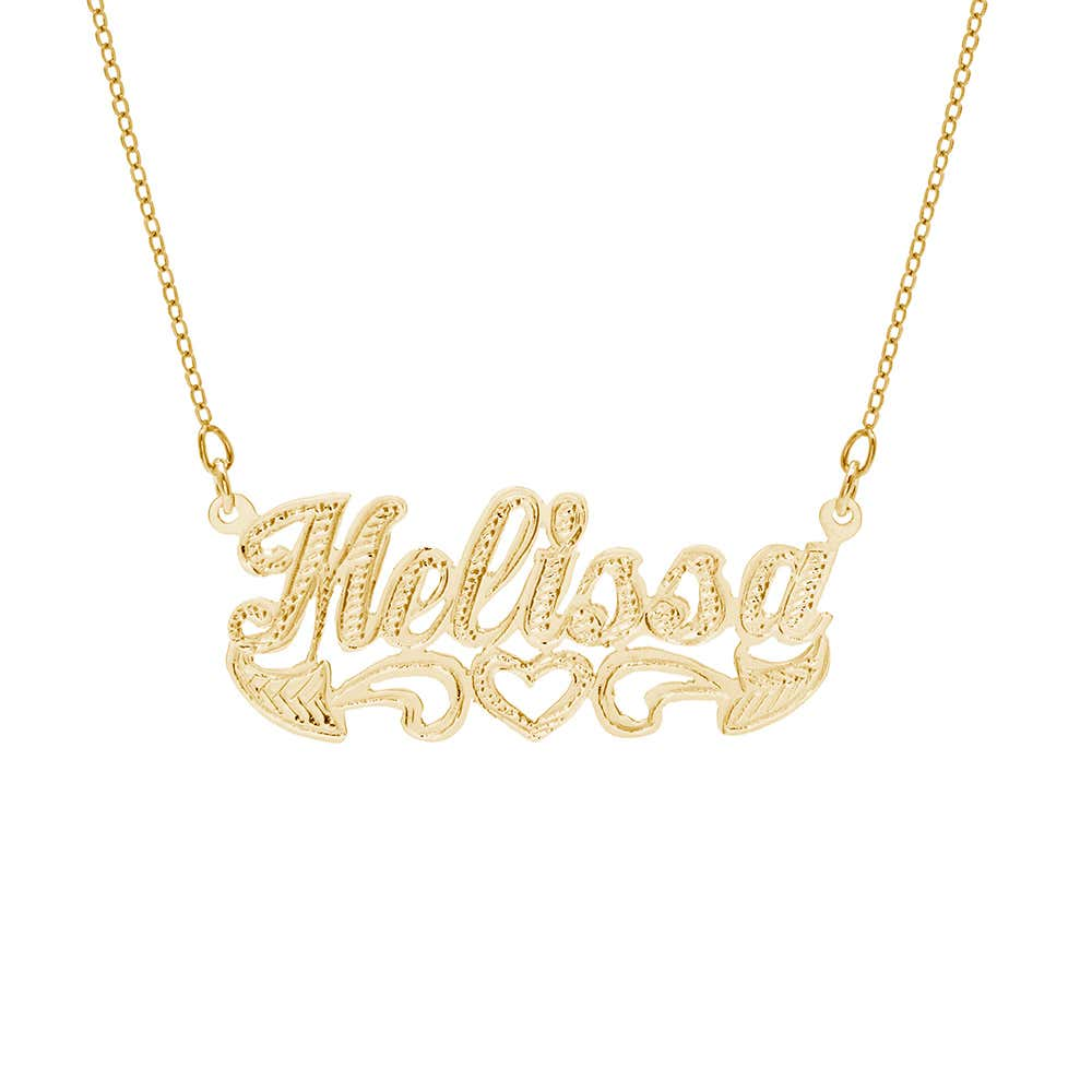 7dd59180532a3 14K Gold Plated Carved Script Nameplate Necklace