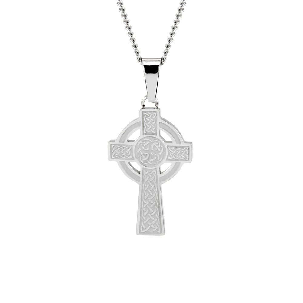 irish cross silver celtic antiqued satin sterling pendant