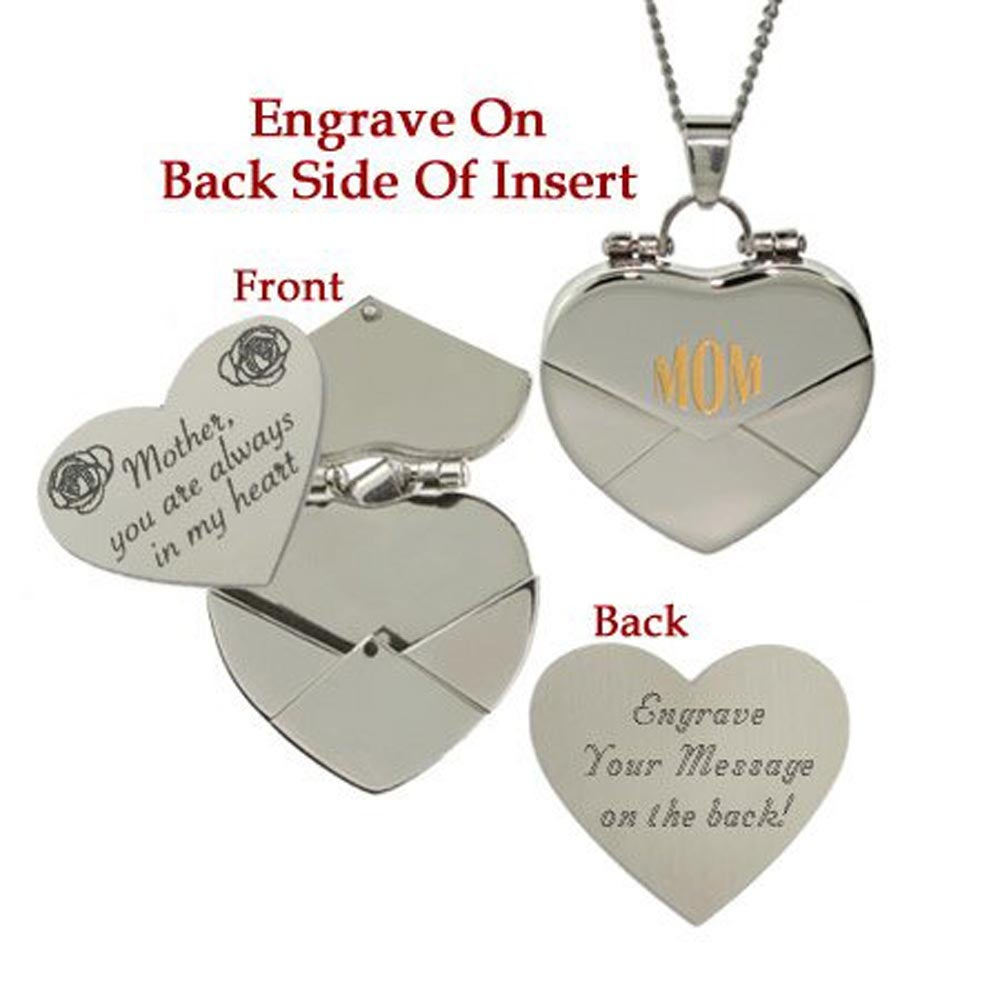 silver personalised lockets with letter necklace envelope