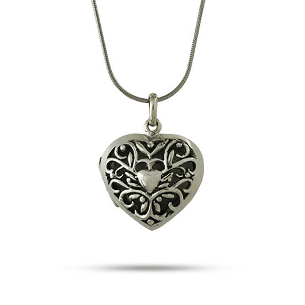 Sterling silver bali style filigree heart locket mozeypictures Image collections