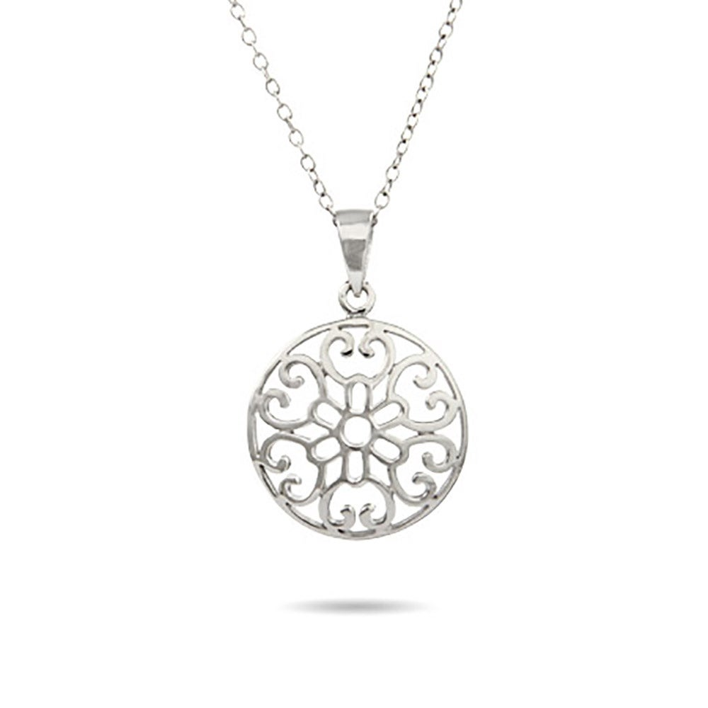 Sterling silver filigree circle necklace aloadofball Images